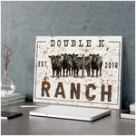 Double K Ranch Cows farm in the field poster canvas best gift for cow lovers for farmer Poster