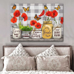 Every day is a new begining smile & start again stunning red poppy flowers & butterfly poster canvas gift for self motivation Poster