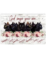 God says you are unique lovely strong cute black cat flowers wood poster canvas gift for cat lovers jesus prayers Poster