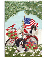 Cavalier king charles spaniel on bicycle with cardinals & US flag on independence day poster canvas gift for spaniel lovers dog lovers Poster