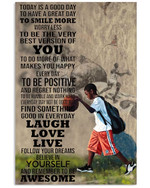 Today is a good day to smile more believe in yourself basketball poster canvas gift for basketball lovers self motivation Poster