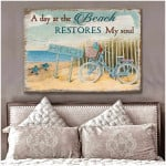 a day at The Beach restores my soul Turtle Canvas Wall Art Decor poster canvas best gift for beach lovers Poster