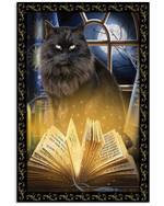 Black Cat Magic Book halloween witch full moon poster canvas best gift for cat lovers Poster