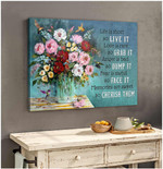 Life is short so live it memories are sweet beautiful blooming flower vase and hummingbirds poster canvas gift for self motivation Poster