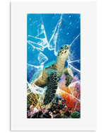 Turtle Watch Out swimming in the ocean of corals poster canvas best gift for turtle lovers Poster