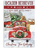 Golden retriever family red trcuk christmas tree delivery poster canvas christmas gift for golden retriever lovers Poster