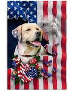 Labrador retriever us flag tear flower butterflies vertical design poster canvas gift for american love golden retriever Poster