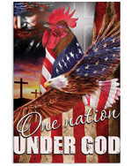Chicken proud one nation under God with US flag eagle on independence day poster canvas gift for farmers jesus prayers Poster