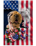 Cute shar pei proud with US flag eagle on independence day poster canvas gift for spaniel lovers dog lovers Poster