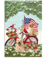 Golden Retriever Independence America Flag Bicycle Vertical Poster Gift For Golden Retriever Lovers Golden Retriever Moms Poster
