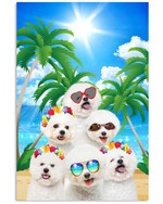 Holiday vacation with bichon frise on beautiful beach under sunshine poster canvas gift for bichon frise lovers dog lovers Poster
