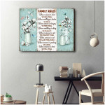 Family Rules We Hug Them We Fix It Dragonfly Cotton Flower Poster gift for Family Lovers God Believers Poster