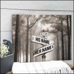 Personalized misty road street sign in forest anniversary poster canvas gift for couple with custom names & date Poster