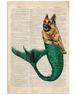 Funny german shepherd mermaid on old paper vintage poster canvas gift for german shepherd lovers dog lovers Poster