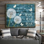Wish wish wish beautiful white dandelion and butterflies rustic blue wood poster canvas gift for loved one Poster