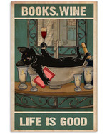 Books Wine Life Is Good Black Bathroom Poster Gift For Books Lovers Wine Lovers Poster