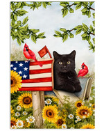 Surprising black cat in US flag mailbox with red cardinals in flowers garden on independence day poster canvas gift for cat lovers Poster