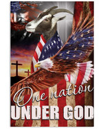 Goat proud one nation under God with US flag eagle on independence day poster canvas gift for goat lovers farmers Poster