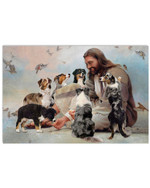 Jesus surounded by aussie and birds horizontal design poster canvas gift for aussie and jesus lovers Poster