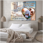 Personalized Two Souls Two Hearts Wall Art Decor poster canvas anniversary gift with custom photo and text for husband for wife Poster