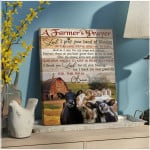 A farmer's prayer I pray hand of blessing on this land for this farm cows in barnhouse poster canvas gift for farmer jesus prayers Poster