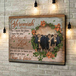 Jeremiah 29:11 Declares The Lord Hope & Future Cows Poster gift for Cows Lovers God Bible Believers Poster