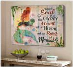 She Has The Soul Heart Spirit Of A Mermaid Canvas Poster Gift For Wild Hippie Girls Poster