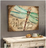 It is well with my soul dragonfly horizontal motivation poster canvas gift for women Poster
