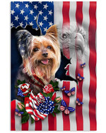 Yorkie Nation America Flag Country Vertical Poster Yorkie Lovers Yorkie Moms American Poster