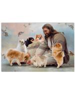 God Surrounded By Pomeranian Angels Horizontal Poster Gift For Pomeranian Lovers Pomeranian Moms Poster
