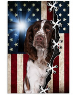 English springer spaniel towards God with US flag on independence day poster canvas gift for spaniel lovers dog lovers jesus prayers Poster