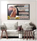 Our marriage recipe always kiss personalized wedding anniversary poster canvas gift for married couple with custom names photo & date Poster
