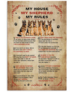 My house my shepherd my rules this is the shepherd's home vintage poster canvas gift for shepherd lovers dog lovers Poster