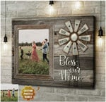 Bless our home personalized farmer anniversary poster canvas gift for farmer family with custom photo and names Poster