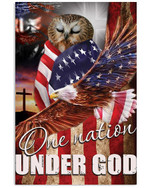 Owl proud one nation under God with US flag eagle on independence day poster canvas gift for flamingo lovers Poster