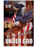 Miniature pinscher one nation under God with US flag eagle on independence day poster canvas gift for pinscher lovers jesus prayers Poster
