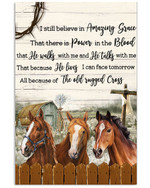 Horse Believe In Amazing Grace that there is power in th blood farmhouse poster canvas best gift for horse lovers Poster