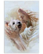 Cute westie terrier with God eye to eye poster canvas gift for westie lovers dog lovers jesus prayers Poster