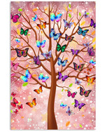 Butterfly Beauty Of Life flock of butterflies perched on colorful tree branches poster canvas best gift for butterfly lovers Poster