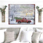 Personalized Merry Be Your Christmas truck peacbe your Wall Art Decor poster canvas best gift with custom text for family Poster