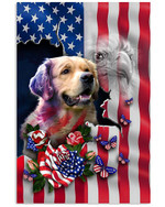 Golden retriever proud American flag eagle on independence day poster canvas gift for golden retriever lovers dog lovers Poster