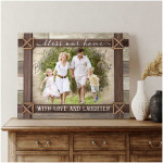 Bless our home with love and laughter personalized farmhouse poster canvas gift for farmer family with custom photo and names Poster