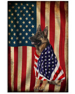 Cute german shepherd salute the American flag on independence day poster canvas gift for german shepherd lovers dog lovers Poster