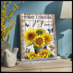 Today I choose joy stunning sunflowers & butterflies poster canvas gift for hippie souls Poster