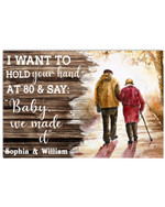 I want to hold your hand at 80 personalized wood poster canvas gift for old couple with custom names Poster