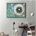 Dadelion butterflies make a wish horizontal poster canvas motivation gift for women Poster
