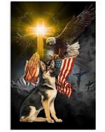 German Shepherd God Bless America Vertical Poster Gift For German Shepherd Lovers German Shepherd Moms Poster