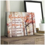 Remembering you missing you that never goes away butterflies & red blooming tree memorial poster canvas gift for loss of loved one Poster
