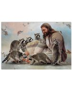 God Surrounded By Raccoon Angels Horizontal Poster Gift For Raccoon Lovers Raccoon Moms Poster