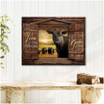 Live like someone left the gate open black angus cow looking over rustic window poster canvas gift for farmers Poster